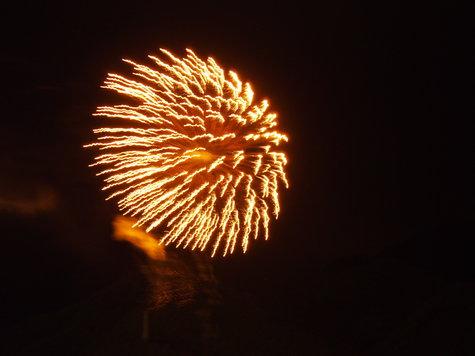 夏の花火:「楯岩艶火」鬼怒楯岩大吊橋開通10周年記念打上花火