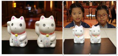 【元旦限定】「招き猫ちゃん絵つけ体験」作品をご紹介いたします♪